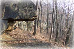 a rock overhang that the Glens trail goes under.